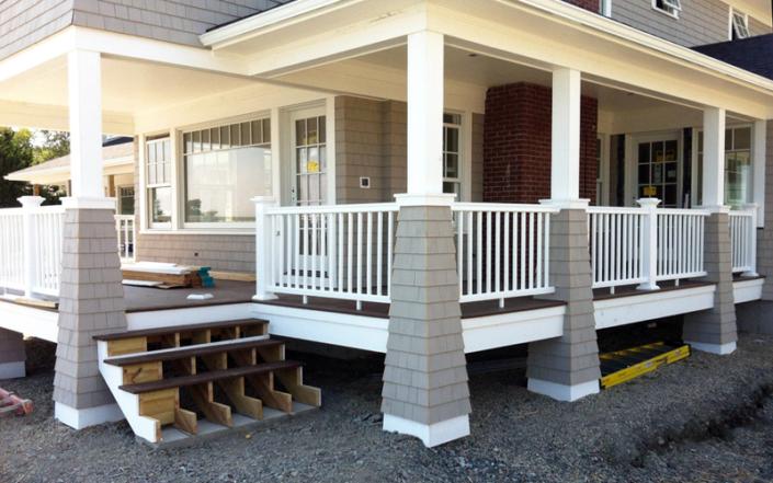 Shingled porch columns - Swampscott MA